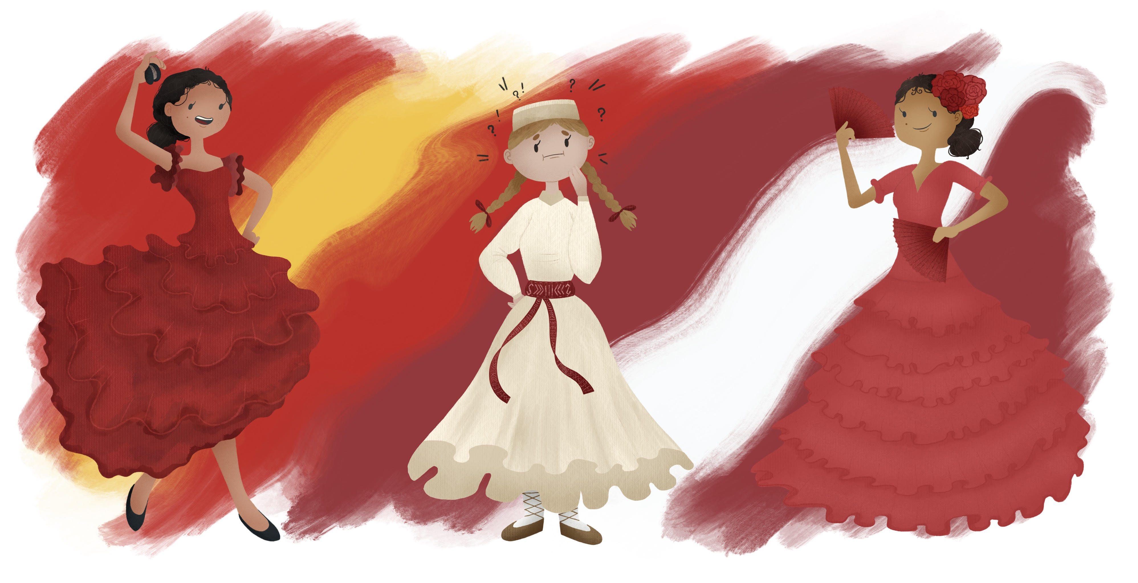 Blog Banner. Two Flamenco Dancers around a Latvian Folk Dancer